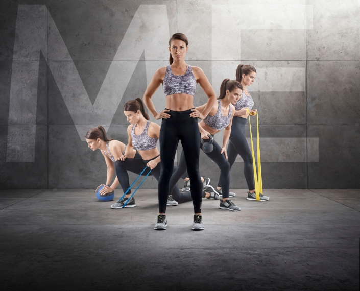 compositing of 5 women in intersport energetics sports dress from tobiaswinkler-bildbearbeitung-muenchen